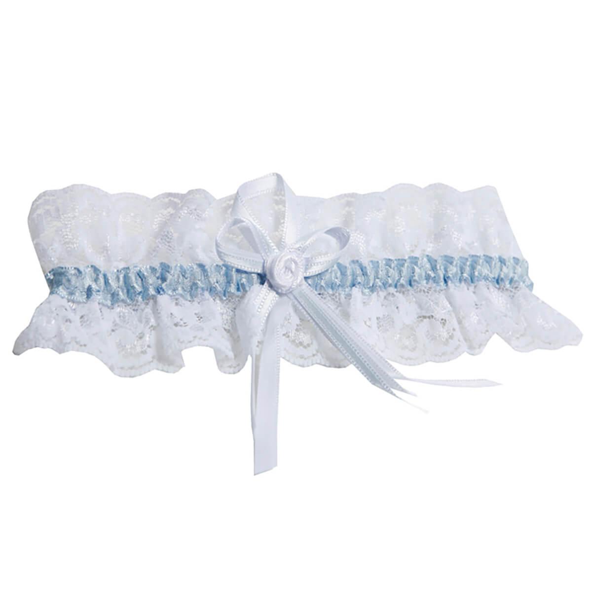 Miss Perfekt-Wow2Go, Strumpfband breit 5cm - Weiß/Blau